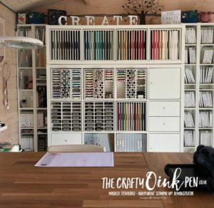 Craft Storage of IKEA Kallax and Creations by Rod make up my Craft Studio of Mikaela Titheridge, Independent Stampin' Up! Demonstrator, The Crafty oINK Pen. Shop online 24/7 www.thecraftyoinkpen.co.uk/shop