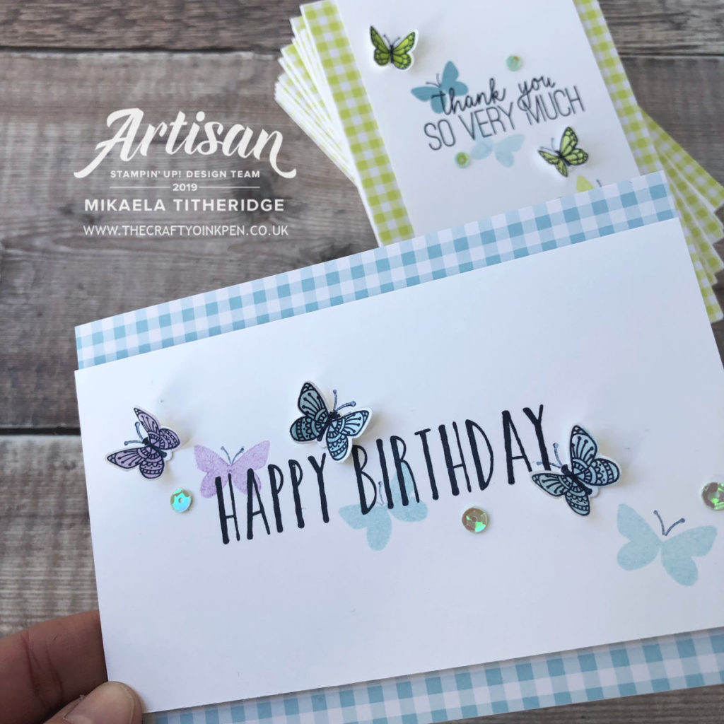 Perennial Birthday meets Gingham Gala and Butterfly Gala from Stampin' Up! by Artisan Design Team Member 2019, Mikaela Titheridge, UK Independent Stampin' Up! Demonstrator, The Crafty oINK Pen. Supplies available through my online store 24/7