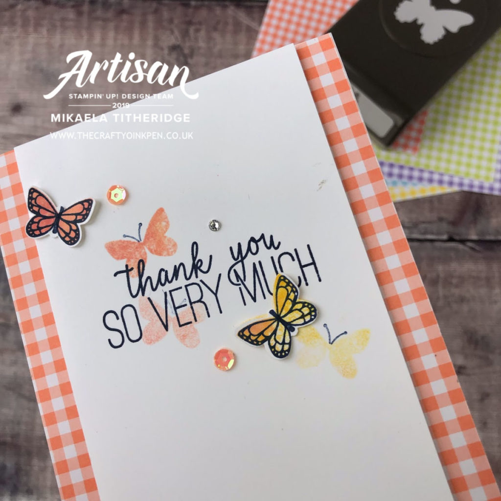 Butterfly Gala Card Details by Artisan Design Team Member 2019, Mikaela Titheridge, UK Independent Stampin' Up! Demonstrator, The Crafty oINK Pen. Supplies available through my online store 24/7