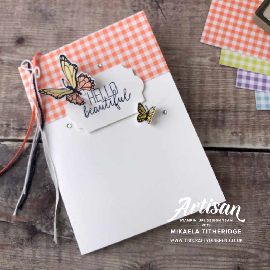 Gingham Gala Suite with Butterfly Gala Fancy Fold Card by Artisan Design Team Member 2019, Mikaela Titheridge, UK Independent Stampin' Up! Demonstrator, The Crafty oINK Pen. Supplies available through my online store 24/7