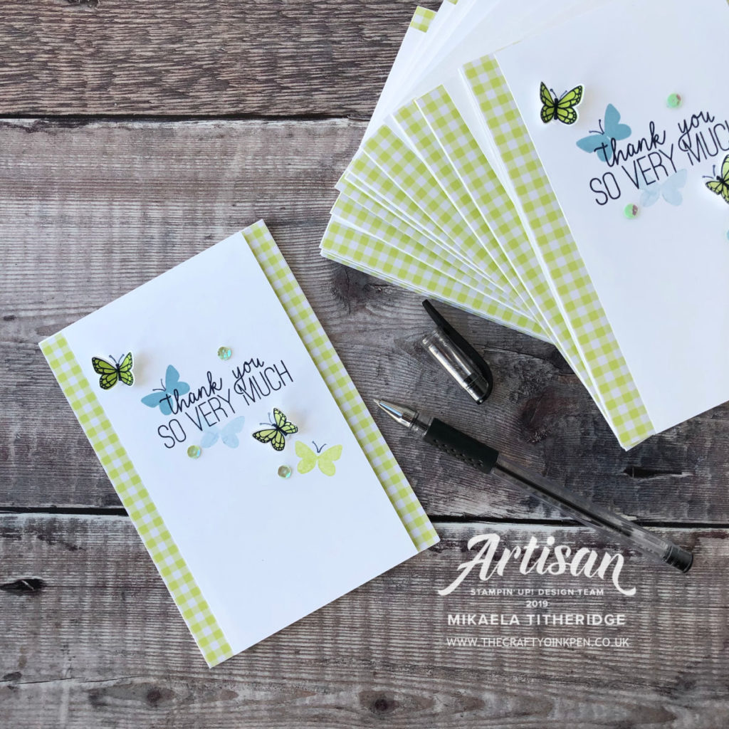 Thank you Cards made using Stampin' Up! Butterfly Gala Bundle by Artisan Design Team Member 2019, Mikaela Titheridge, UK Independent Stampin' Up! Demonstrator, The Crafty oINK Pen. Supplies available through my online store 24/7