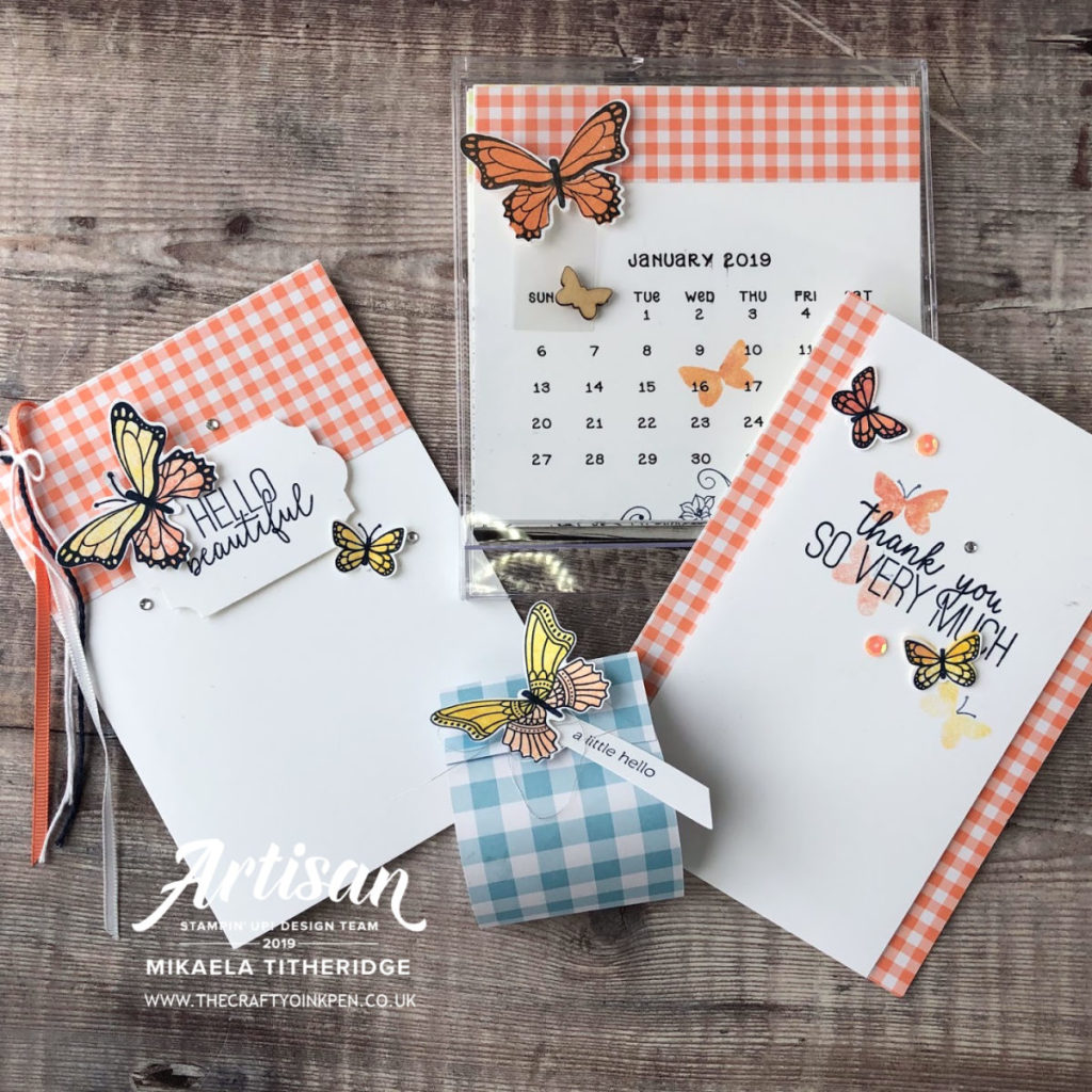 Butterfly Gala teams beautifully with Gingham Gala from the new Spring/Summer Catalogue. Class designed by Artisan Design Team Member 2019, Mikaela Titheridge, UK Independent Stampin' Up! Demonstrator, The Crafty oINK Pen. Supplies available through my online store 24/7