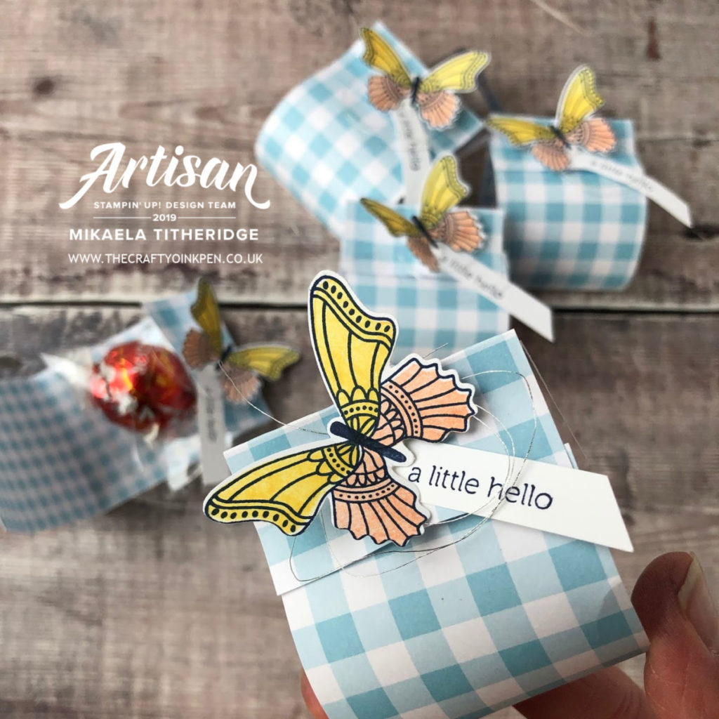 Gingham Gala DSP Table Favours by Artisan Design Team Member 2019, Mikaela Titheridge, UK Independent Stampin' Up! Demonstrator, The Crafty oINK Pen. Supplies available through my online store 24/7