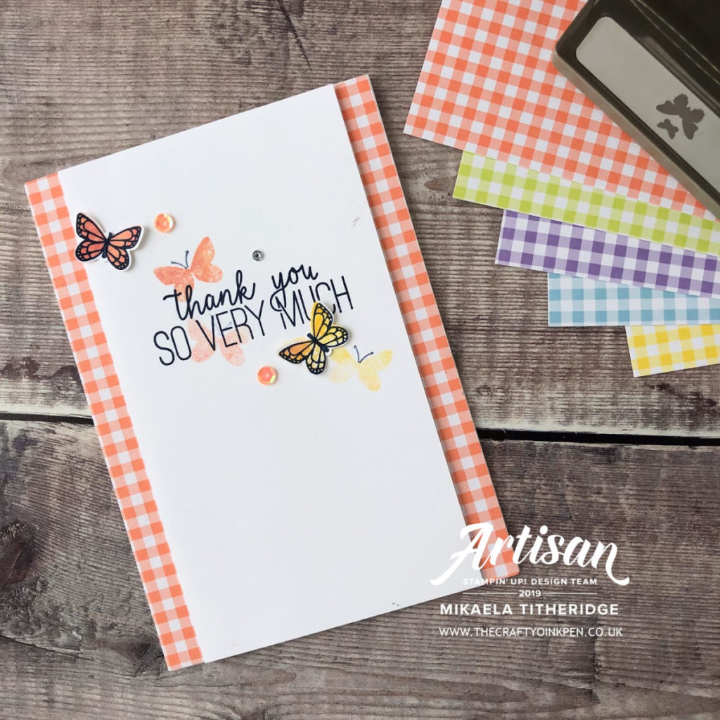 Butterfly Gala meets Gingham Gala for my monthly Papercraft Class by Artisan Design Team Member 2019, Mikaela Titheridge, UK Independent Stampin' Up! Demonstrator, The Crafty oINK Pen. Supplies available through my online store 24/7