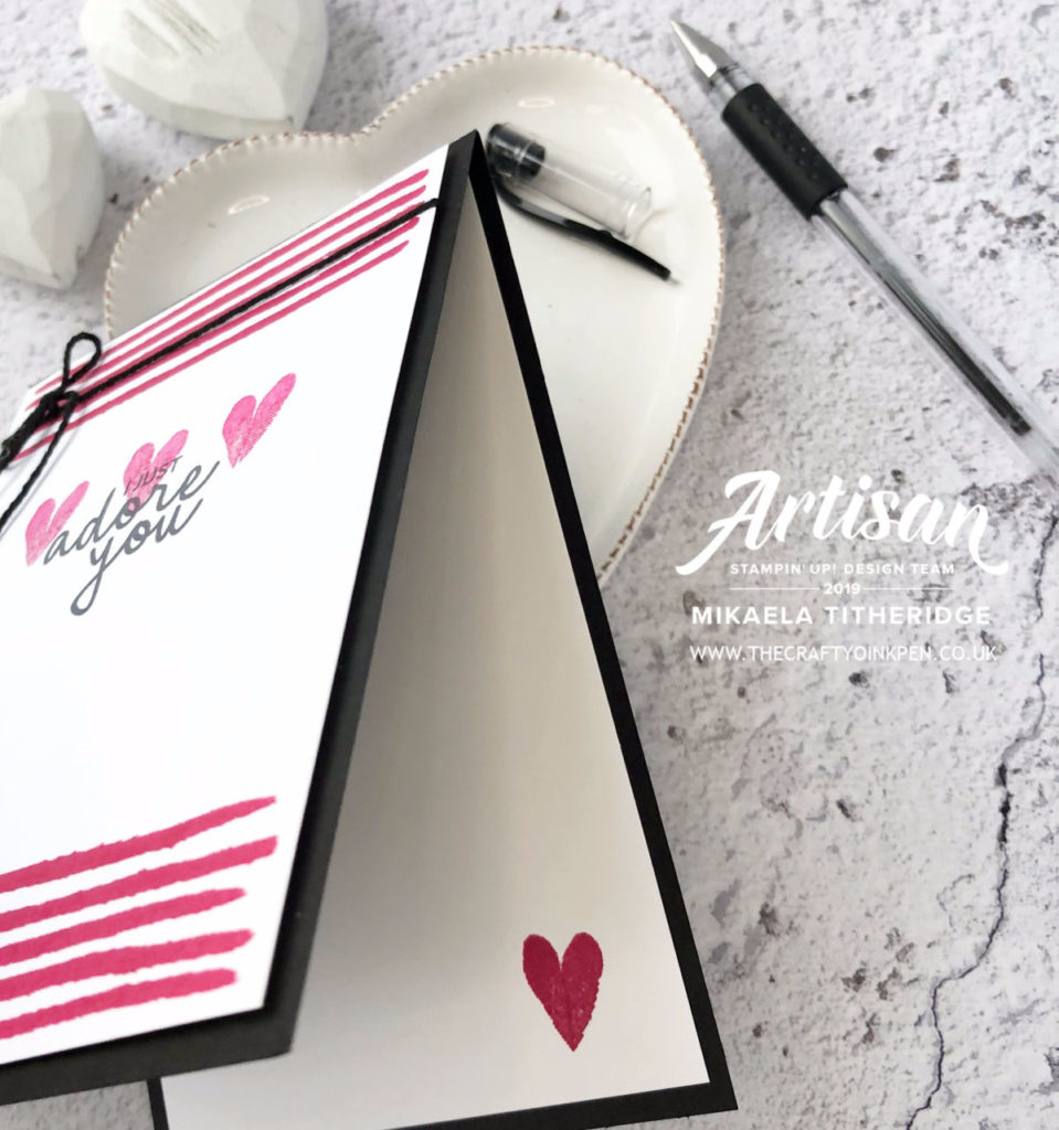 Beginners Stamping. Incredible like you for simple stamping of a Valentines Day Card by Artisan Design Team Member 2019, Mikaela Titheridge, UK Independent Stampin' Up! Demonstrator, The Crafty oINK Pen. Supplies available through my online store 24/7