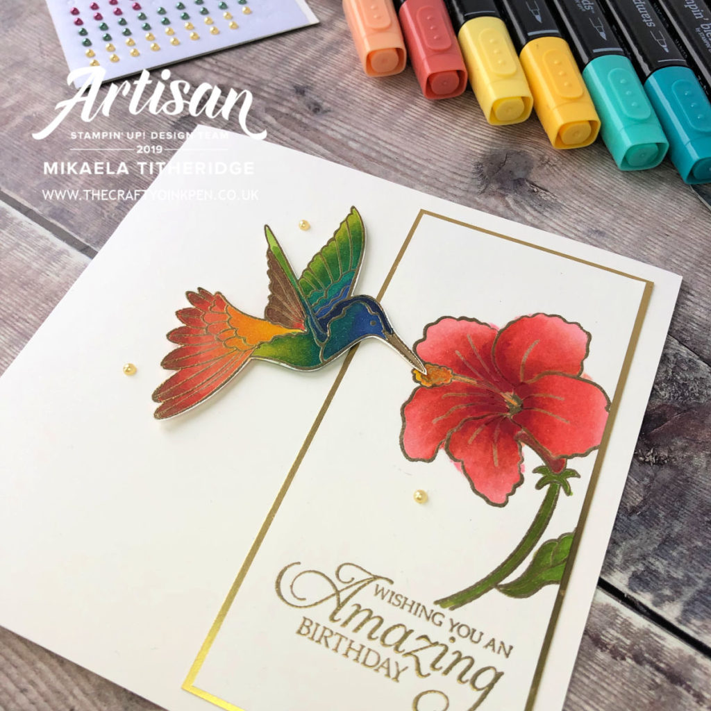 Humming Along Hummingbird card made using Stampin' Up! Blends and Inspired by Emma Kenyon. Made by Mikaela Titheridge, UK Independent Stampin' Up! Demonstrator, The Crafty oINK Pen. Supplies available through my online store 24/7
