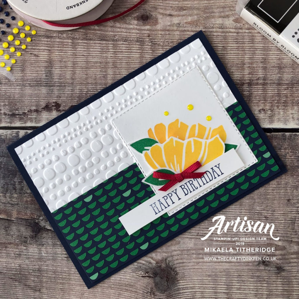 Happy Birthday with Happiness Blooms by Artisan Design Team Member 2019, Mikaela Titheridge, UK Independent Stampin' Up! Demonstrator, The Crafty oINK Pen. Supplies available through my online store 24/7