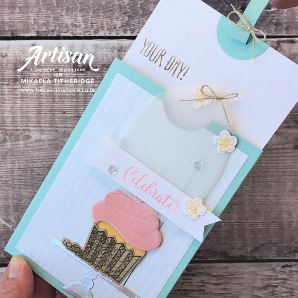Hello Cupcake / Call Me Cupcake Slider Card, using the Sale-a-Bration Stamp Set and Coordination Die set available for purchase from 1st March 2019 through Artisan Design Team Member 2019, Mikaela Titheridge, UK Independent Stampin' Up! Demonstrator, The Crafty oINK Pen. Supplies available through my online store 24/7