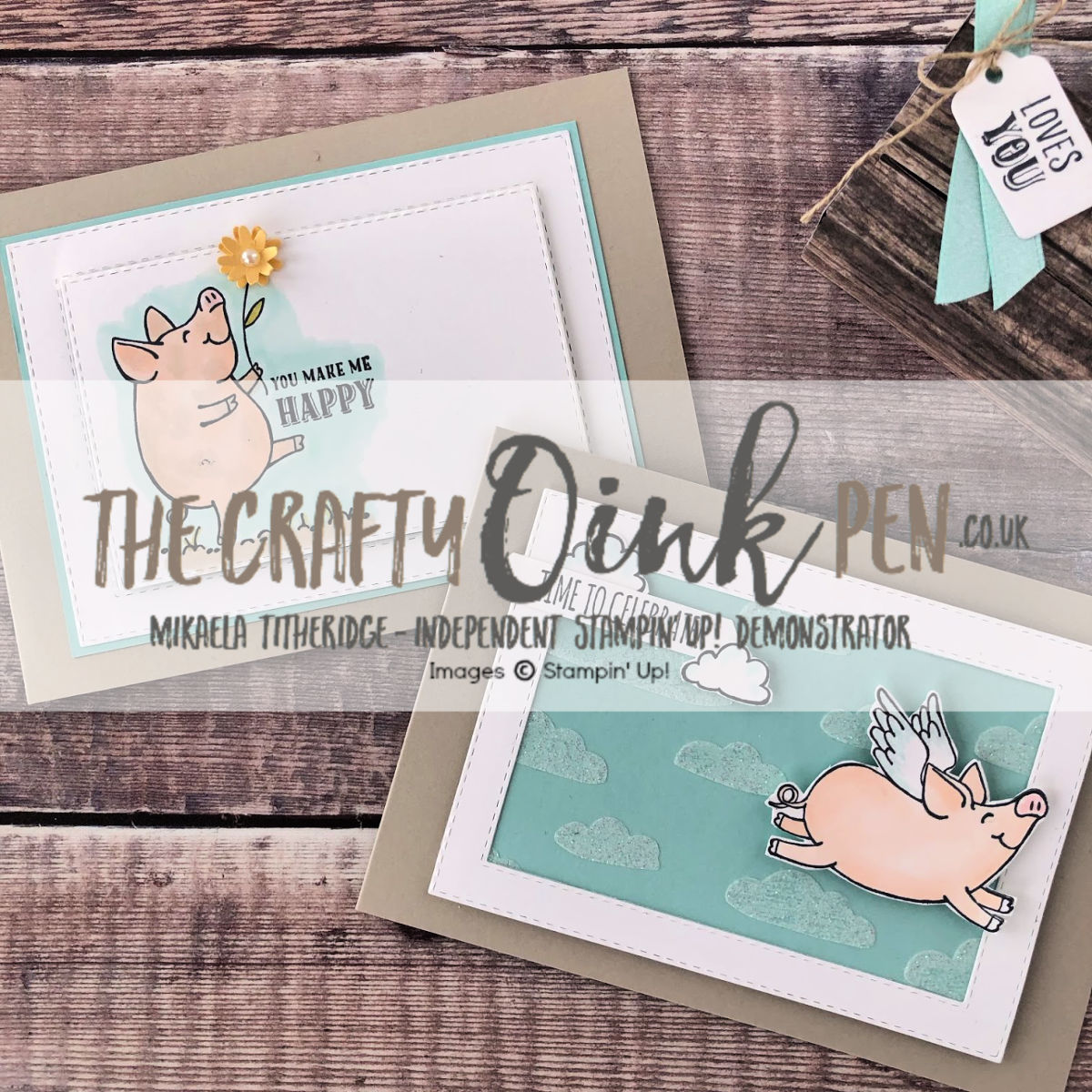 This Little Piggy Card Class Set by Artisan Design Team Member 2019, Mikaela Titheridge, UK Independent Stampin' Up! Demonstrator, The Crafty oINK Pen. Supplies available through my online store 24/7
