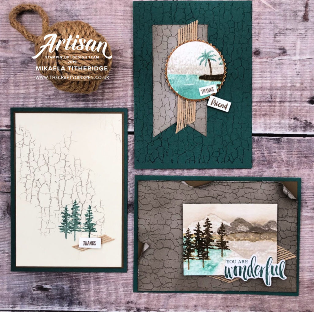 Crackle Paint Background and Waterfront Stamp Set make for fabulous Masculine Cards by Artisan Design Team Member 2019, Mikaela Titheridge, UK Independent Stampin' Up! Demonstrator, The Crafty oINK Pen. Supplies available through my online store 24/7