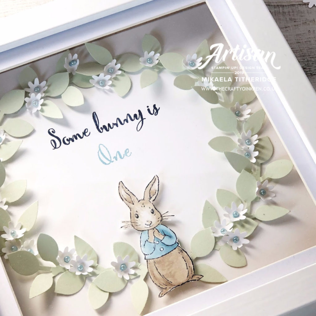 Fable Friends Peter Rabbit Home Decor Wreath for a one year old baby boy by Artisan Design Team Member 2019, Mikaela Titheridge, UK Independent Stampin' Up! Demonstrator, The Crafty oINK Pen. Supplies available through my online store 24/7