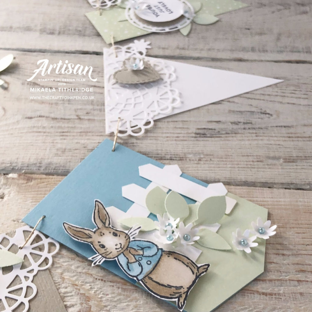 Fable Friends Keepsake Bunting, using our very own Peter Rabbit style bunny for a one year old Birthday by Artisan Design Team Member 2019, Mikaela Titheridge, UK Independent Stampin' Up! Demonstrator, The Crafty oINK Pen. Supplies available through my online store 24/7