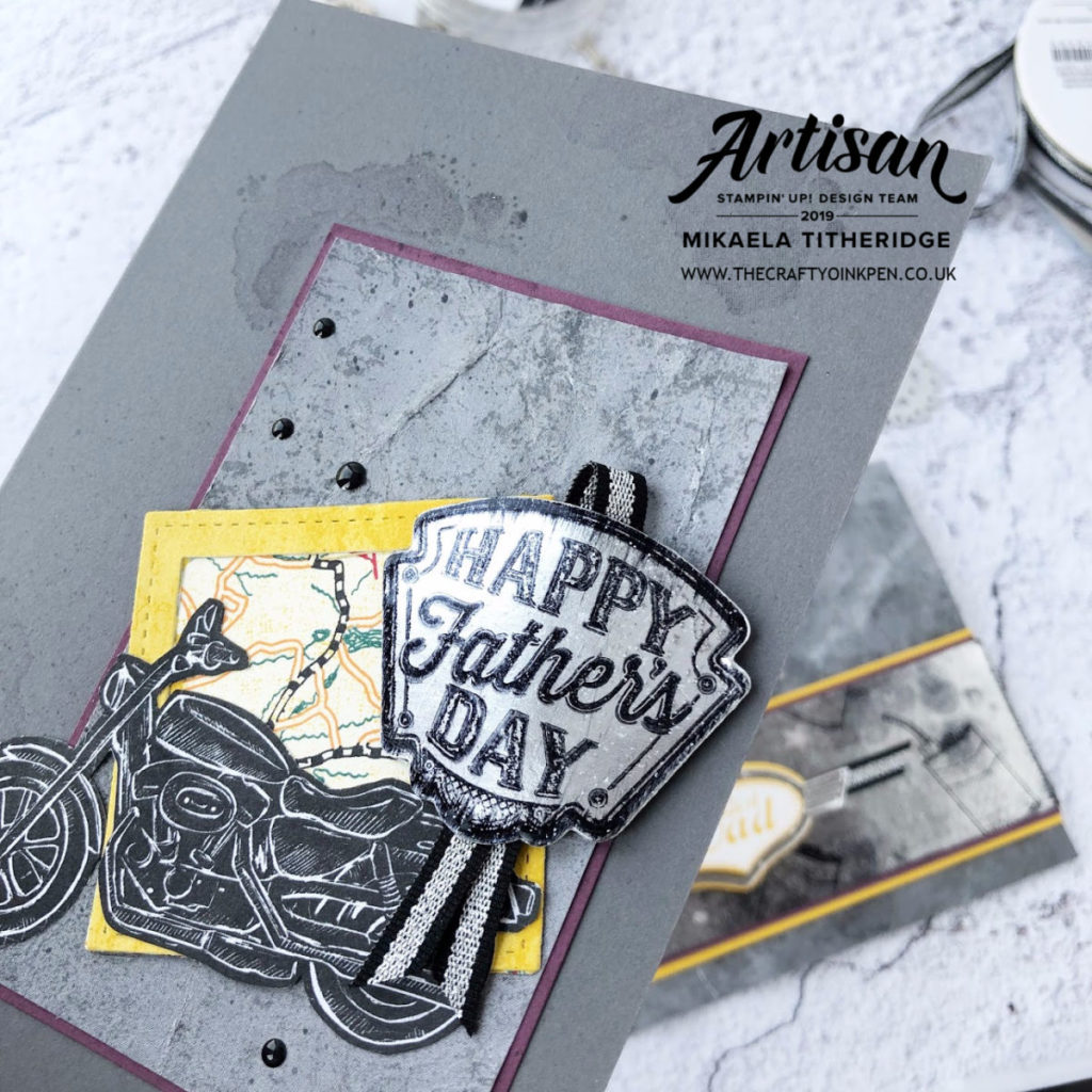 Geared Up Garage for some Father's Day Cards. Black Ice Technique and textured backgrounds by Artisan Design Team Member 2019, Mikaela Titheridge, UK Independent Stampin' Up! Demonstrator, The Crafty oINK Pen. Supplies available through my online store 24/7
