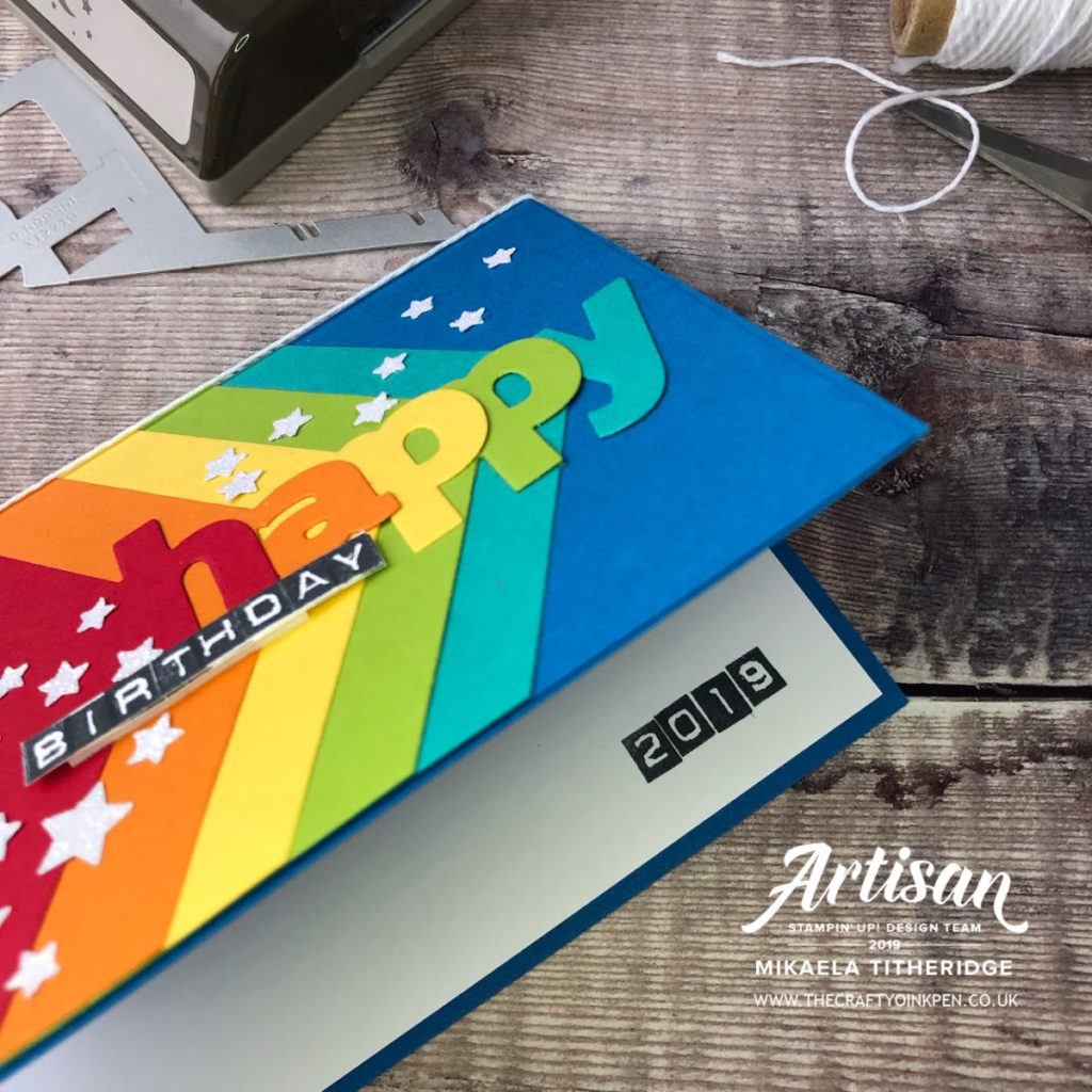 Lined Layering Alphabet Birthday Rainbow Card inside by Artisan Design Team Member 2019, Mikaela Titheridge, UK Independent Stampin' Up! Demonstrator, The Crafty oINK Pen. Supplies available through my online store 24/7