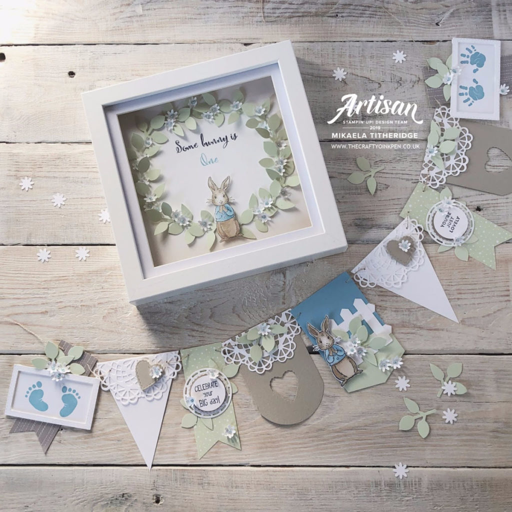Fable Friends turn one. Keepsake Baby Bunting and Home Decor Shadow Box Frame by Artisan Design Team Member 2019, Mikaela Titheridge, UK Independent Stampin' Up! Demonstrator, The Crafty oINK Pen. Supplies available through my online store 24/7