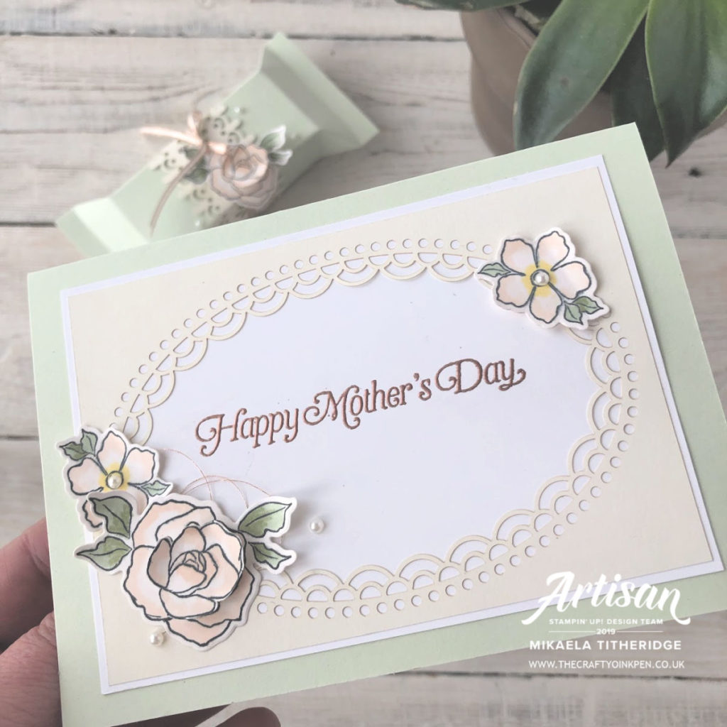 Card and Gift packet using Delightful Detailed Lazer Cut Paper, meets Tea Together Flower for a Strong and Beautiful woman by Artisan Design Team Member 2019, Mikaela Titheridge, UK Independent Stampin' Up! Demonstrator, The Crafty oINK Pen. Supplies available through my online store 24/7