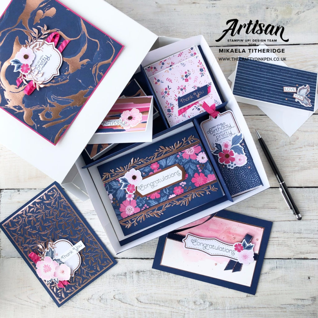 Product Medley, Everything is Rosy with Rose Gold Shimmer Paint. Navy and Pink colour palette. by Artisan Design Team Member 2019, Mikaela Titheridge, UK Independent Stampin' Up! Demonstrator, The Crafty oINK Pen. Supplies available through my online store 24/7