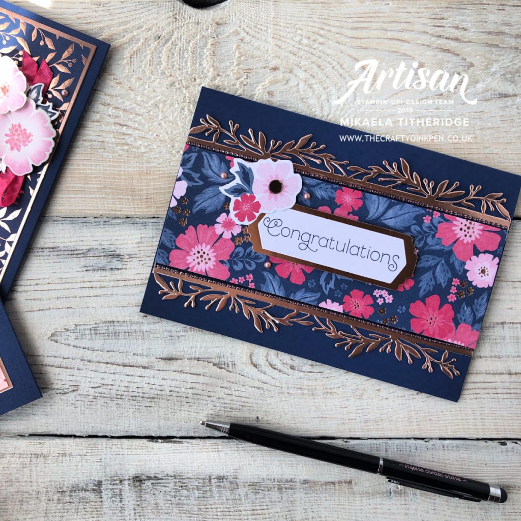 Product Medley, Everything is Rosy with Melon Mambo, Night of Navy and Rose Gold Shimmer Paint by Artisan Design Team Member 2019, Mikaela Titheridge, UK Independent Stampin' Up! Demonstrator, The Crafty oINK Pen. Supplies available through my online store 24/7