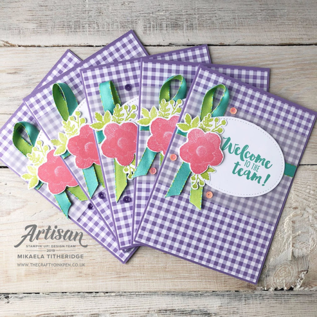 Gingham Gala Designer Series Papers with Needlepoint Nook Needle & Thread, Welcome Card by Artisan Design Team Member 2019, Mikaela Titheridge, UK Independent Stampin' Up! Demonstrator, The Crafty oINK Pen. Supplies available through my online store 24/7