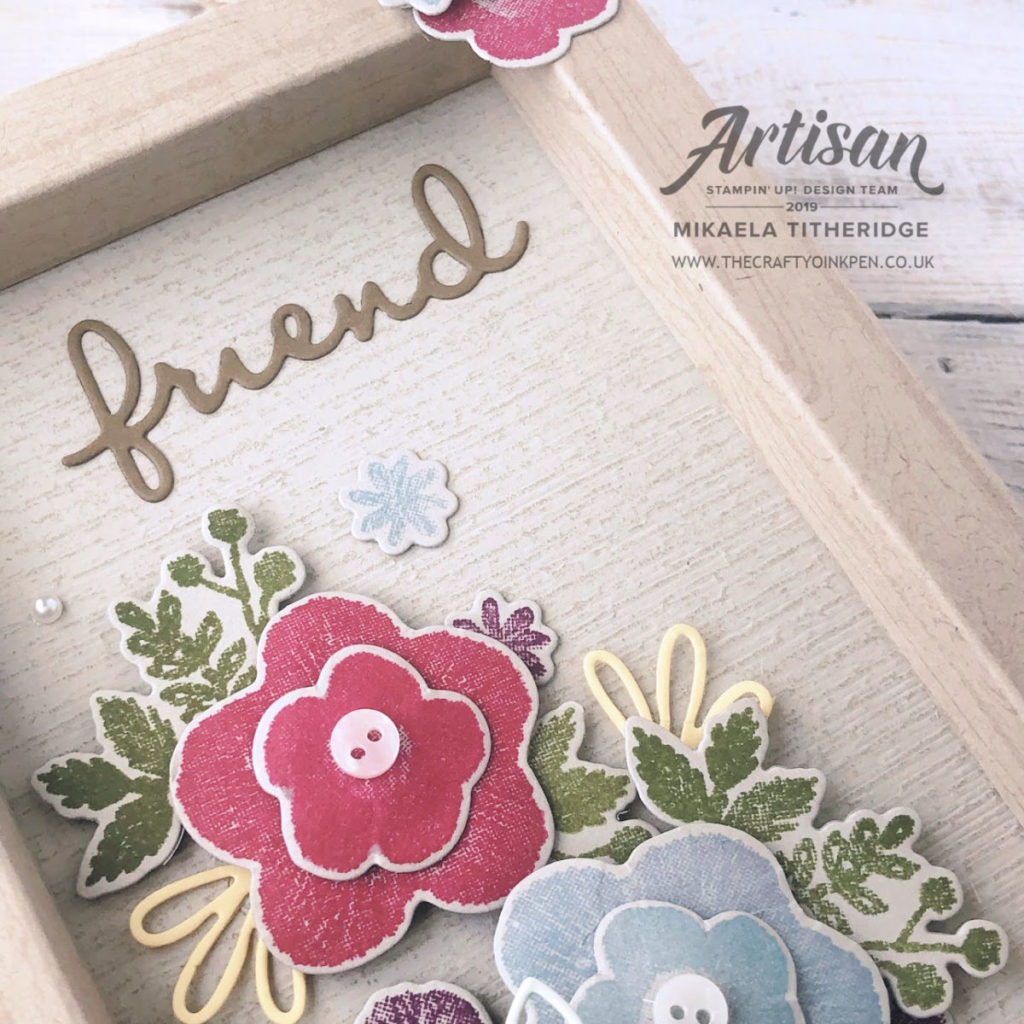 Needlepoint Nook Friendship Frame using Needle & Thread Stamp Set and Needlepoint Elements Dies by Artisan Design Team Member 2019, Mikaela Titheridge, UK Independent Stampin' Up! Demonstrator, The Crafty oINK Pen. Supplies available through my online store 24/7