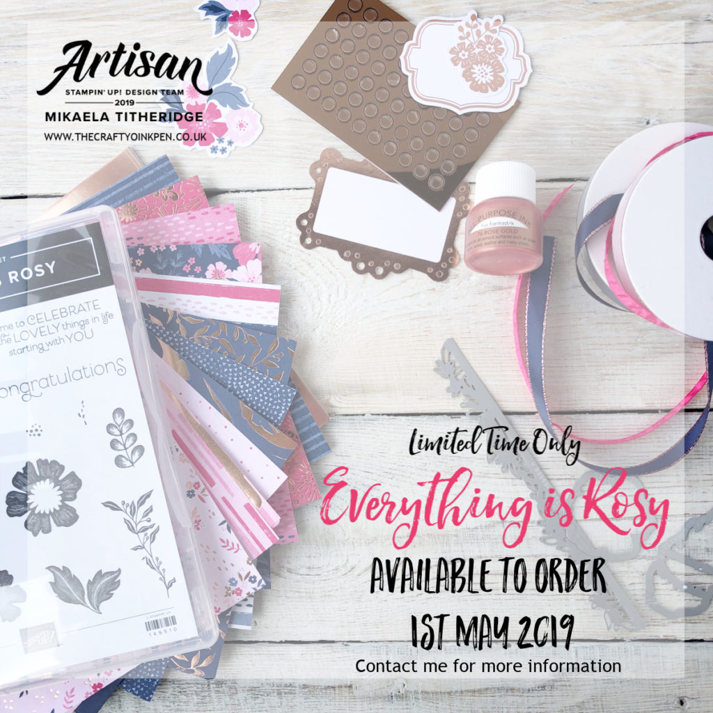 Product Medley, Everything is Rosy with Rose Gold Shimmer Paint, Foil, Dies and Stamp Set by Artisan Design Team Member 2019, Mikaela Titheridge, UK Independent Stampin' Up! Demonstrator, The Crafty oINK Pen. Supplies available through my online store 24/7