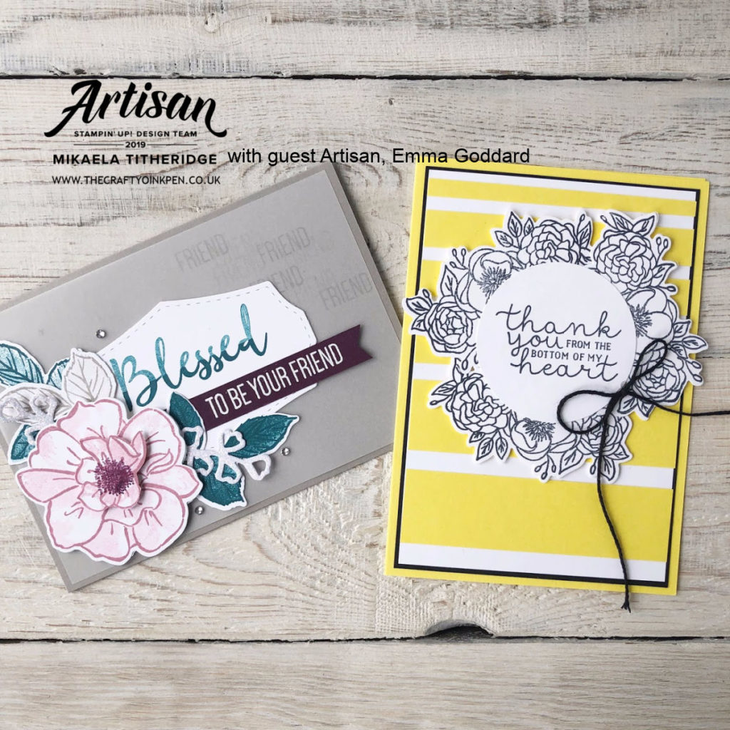 Bloom & Grow meets To a Wild Rose Facebook Live Papercraft Projects for two very different floral cards by Artisan Design Team Members 2019, Mikaela Titheridge and Emma Goddard, UK Independent Stampin' Up! Demonstrators