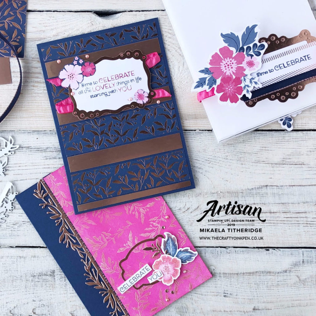 Everything is Rosy with Melon Mambo, Night of Navy and Rose Gold in this Limited Time only special Product Medley available 1-31st May from Artisan Design Team Member 2019, Mikaela Titheridge, UK Independent Stampin' Up! Demonstrator, The Crafty oINK Pen. Supplies available through my online store 24/7