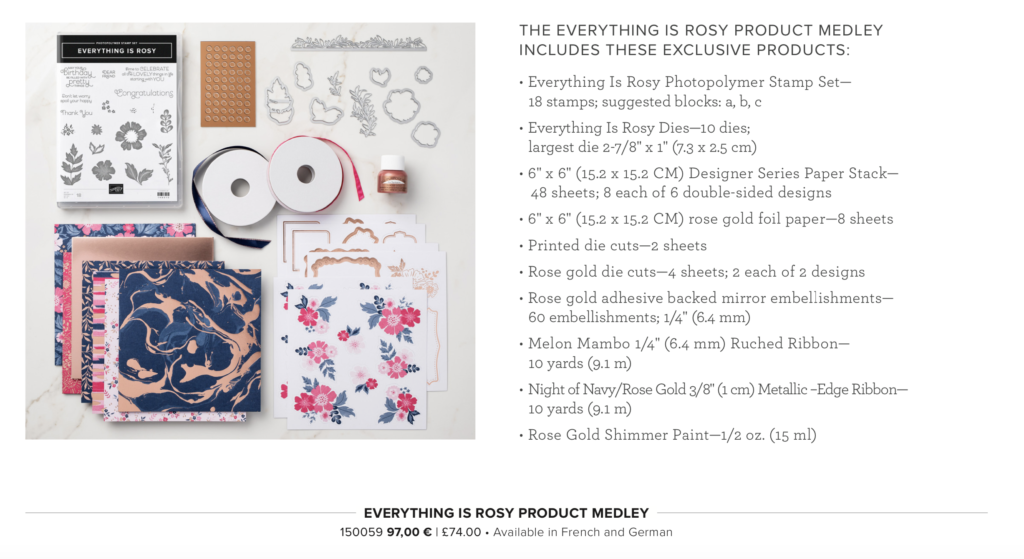 Limited time only, Everything is Rosy Product Medley available from Artisan Design Team Member 2019, Mikaela Titheridge, UK Independent Stampin' Up! Demonstrator, The Crafty oINK Pen. Supplies available through my online store 24/7