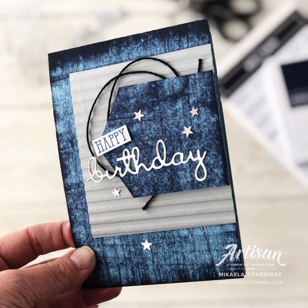 A monuMENtal Well Written card for a young man using Denim by Artisan Design Team Member 2019, Mikaela Titheridge, UK Independent Stampin' Up! Demonstrator, The Crafty oINK Pen. Supplies available through my online store 24/7