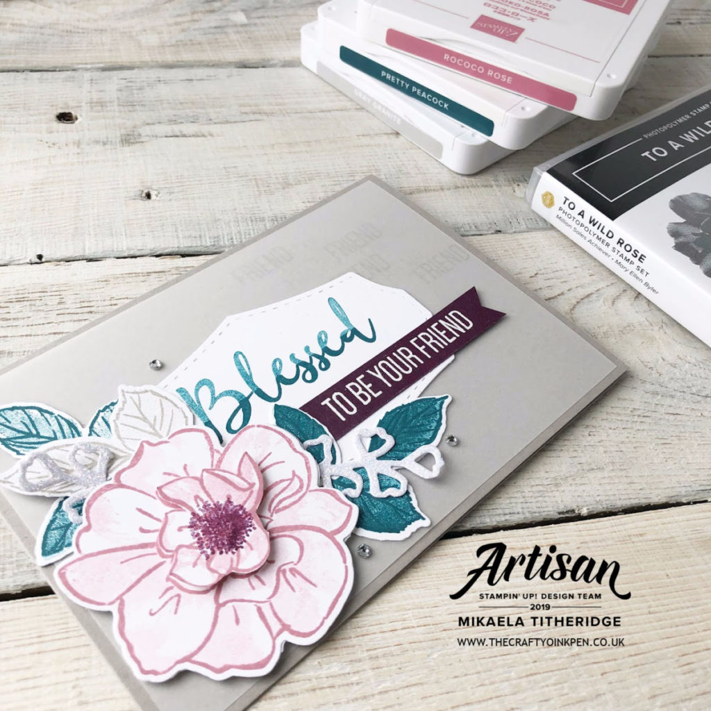 To a Wild Rose Stamp Set for a floral Facebook Live with second card by Emma Goddard, using Bloom & Grow. Artisan Design Team Member 2019, Mikaela Titheridge, UK Independent Stampin' Up! Demonstrator, The Crafty oINK Pen. Supplies available through my online store 24/7