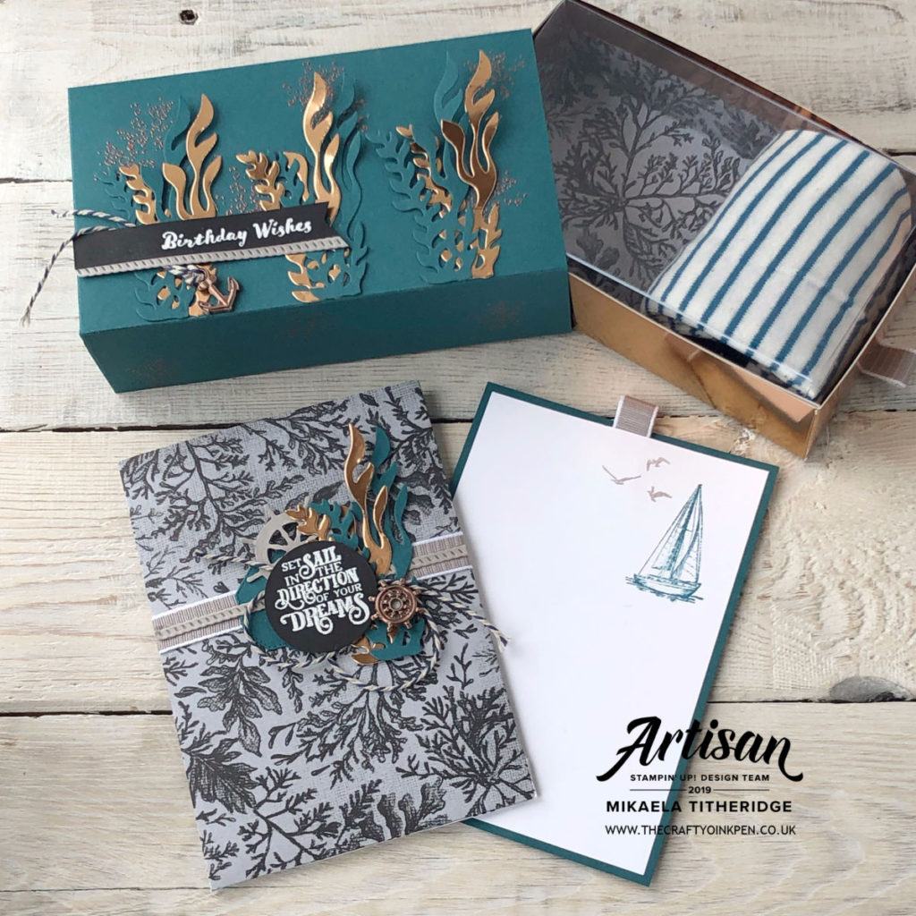Come Sail Away, Sailing Home, Ted Baker Style Gift Box and Slider Card by Artisan Design Team Member 2019, Mikaela Titheridge, UK Independent Stampin' Up! Demonstrator, The Crafty oINK Pen. Supplies available through my online store 24/7