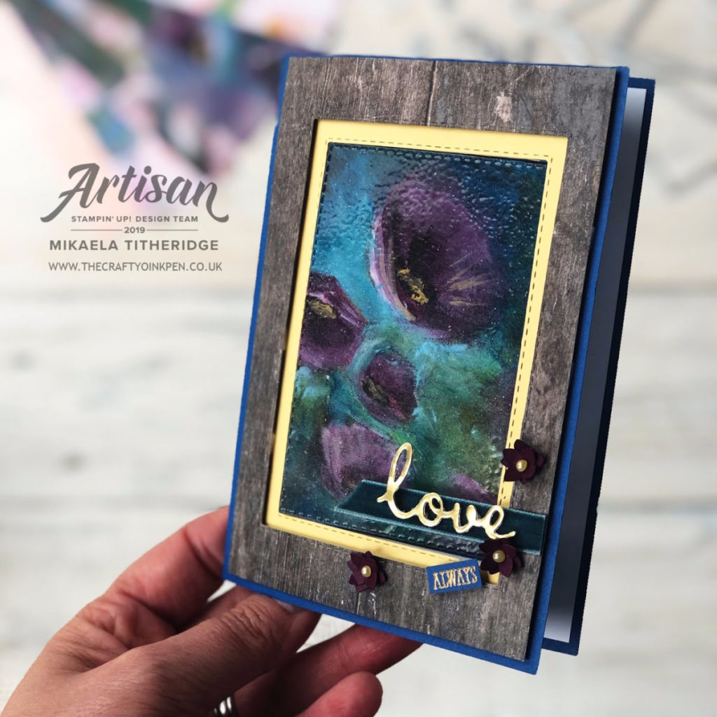 Creation Station Fancy Fold Hop. Swing Card using Perennial Essence DSP by Artisan Design Team Member 2019, Mikaela Titheridge, UK Independent Stampin' Up! Demonstrator, The Crafty oINK Pen. Supplies available through my online store 24/7