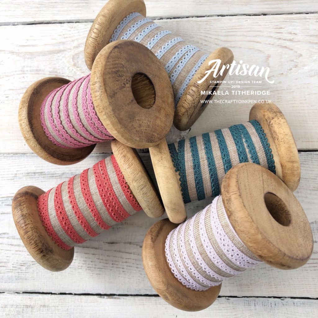 In-Colours 2019-2021 Linen Ribbons available from Artisan Design Team Member 2019, Mikaela Titheridge, UK Independent Stampin' Up! Demonstrator, The Crafty oINK Pen. Supplies available through my online store 24/7