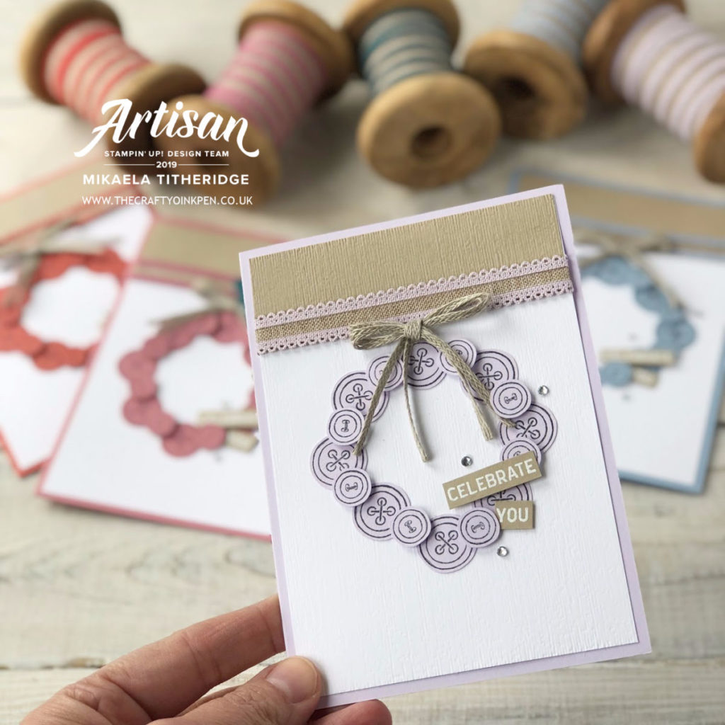 It Started with Art, In Colours Card Set with Linen Ribbon by Artisan Design Team Member 2019, Mikaela Titheridge, UK Independent Stampin' Up! Demonstrator, The Crafty oINK Pen. Supplies available through my online store 24/7