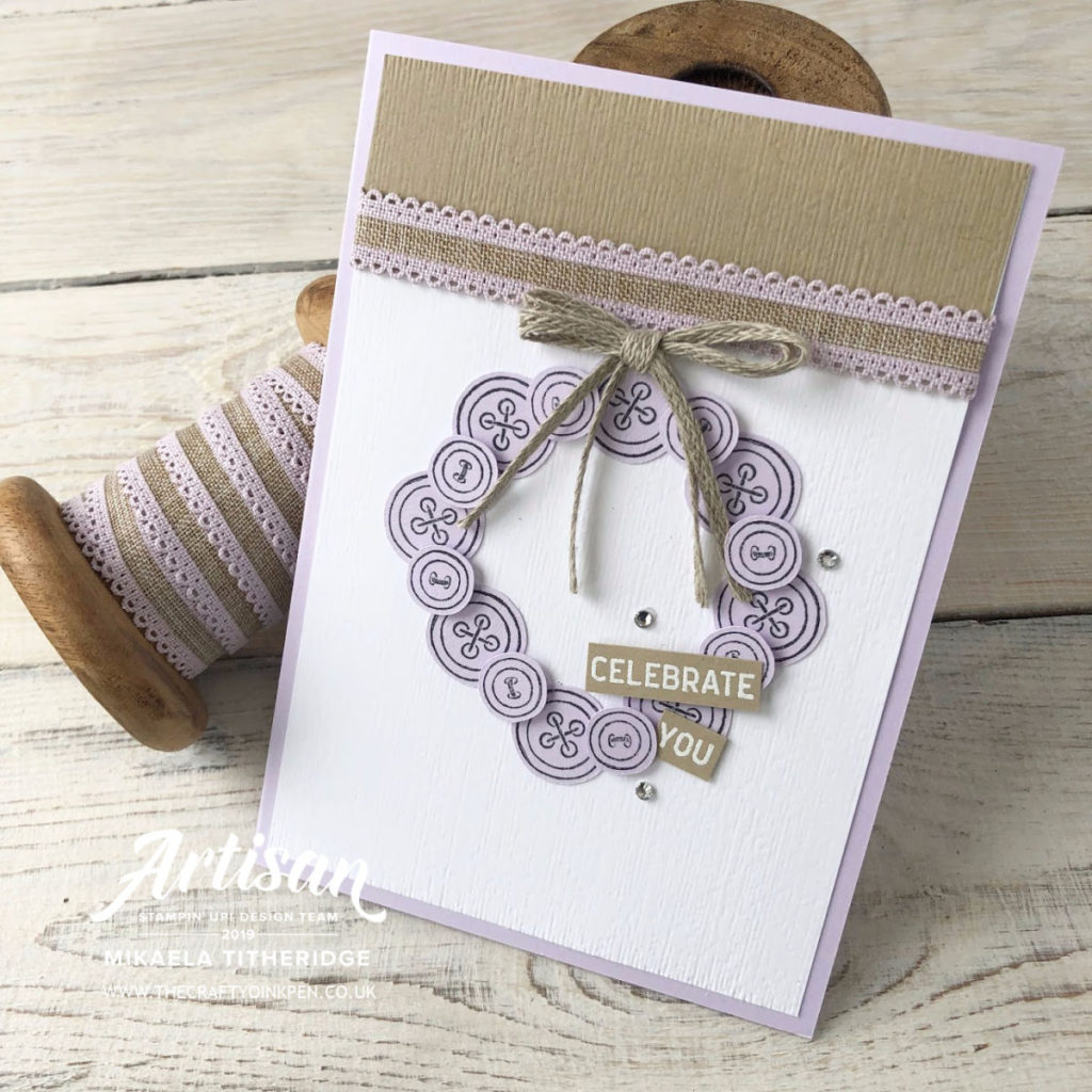 It Started with Art, Purple Posy In Colours Card Set with Linen Ribbon by Artisan Design Team Member 2019, Mikaela Titheridge, UK Independent Stampin' Up! Demonstrator, The Crafty oINK Pen. Supplies available through my online store 24/7