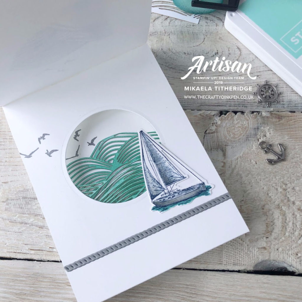 Sailing Home with a Fancy Fold by Artisan Design Team Member 2019, Mikaela Titheridge, UK Independent Stampin' Up! Demonstrator, The Crafty oINK Pen. Supplies available through my online store 24/7