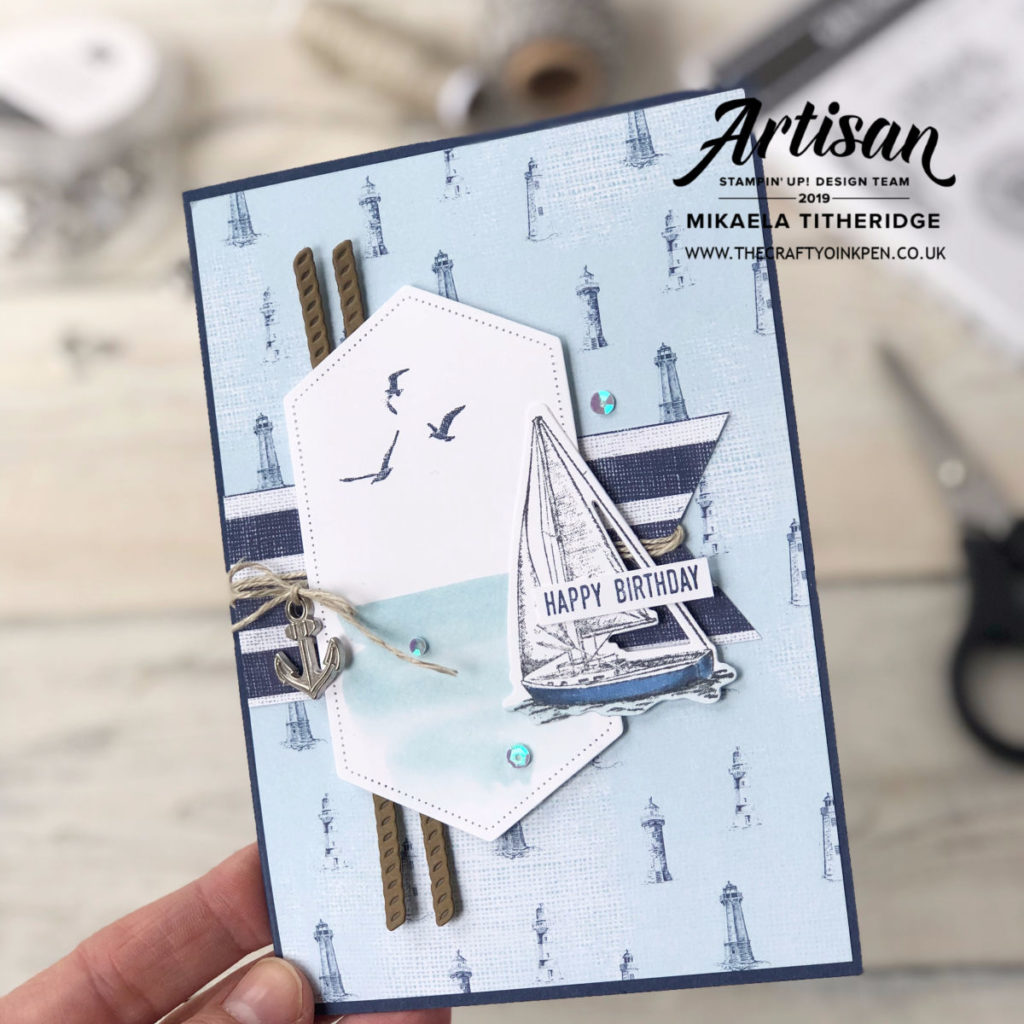 One Sketch, Two Cards using Sailing Home Stamp Set and Sailing Away products by Artisan Design Team Member 2019, Mikaela Titheridge, UK Independent Stampin' Up! Demonstrator, The Crafty oINK Pen. Supplies available through my online store 24/7