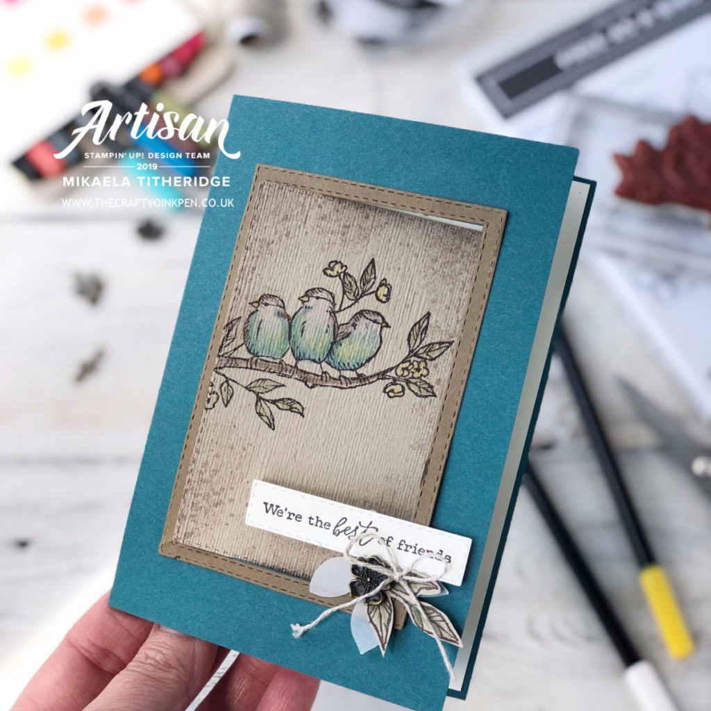 Free as a Bird, Swing Card Fancy Fold with Watercolour pencils by Artisan Design Team Member 2019, Mikaela Titheridge, UK Independent Stampin' Up! Demonstrator, The Crafty oINK Pen. Supplies available through my online store 24/7
