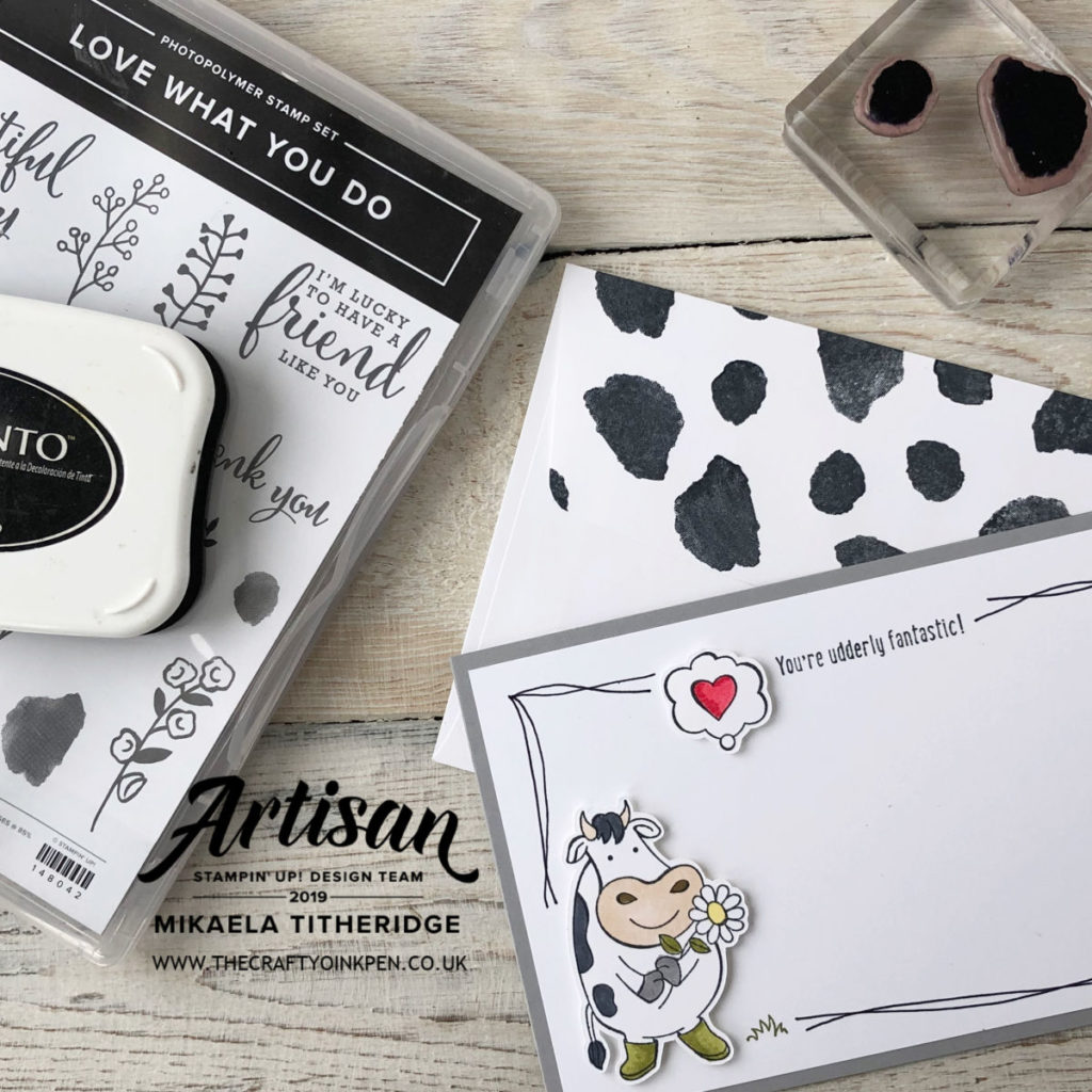 Over the Moon with freestyle line drawing for the Greek Isles Achievers Blog Hop. Love what you do to create some fabulous cow hide by Artisan Design Team Member 2019, Mikaela Titheridge, UK Independent Stampin' Up! Demonstrator, The Crafty oINK Pen. Supplies available through my online store 24/7
