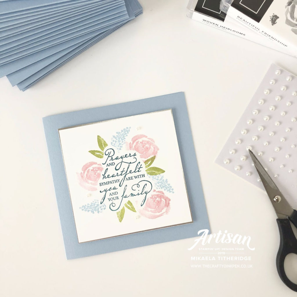 Incentive Trip Swap using Beautiful Friendship and Woven Heirlooms for a Sympathy Card by Artisan Design Team Member 2019, Mikaela Titheridge, UK Independent Stampin' Up! Demonstrator, The Crafty oINK Pen. Supplies available through my online store 24/7