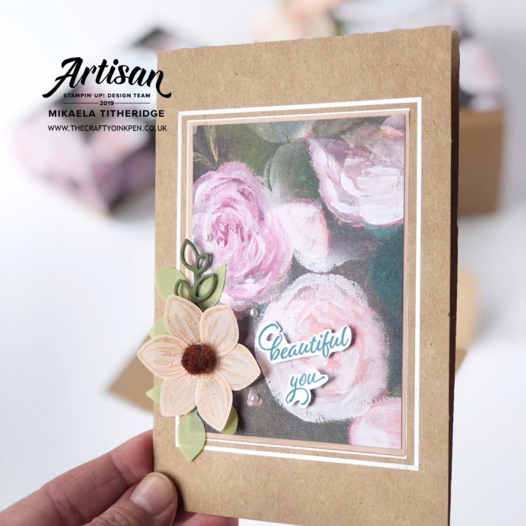 Perennial Essence Artisan Blog Hop. Gift Boxes and Greetings Card with Lined Envelope. Kraft Cards and Boxes by Artisan Design Team Member 2019, Mikaela Titheridge, UK Independent Stampin' Up! Demonstrator, The Crafty oINK Pen. Supplies available through my online store 24/7