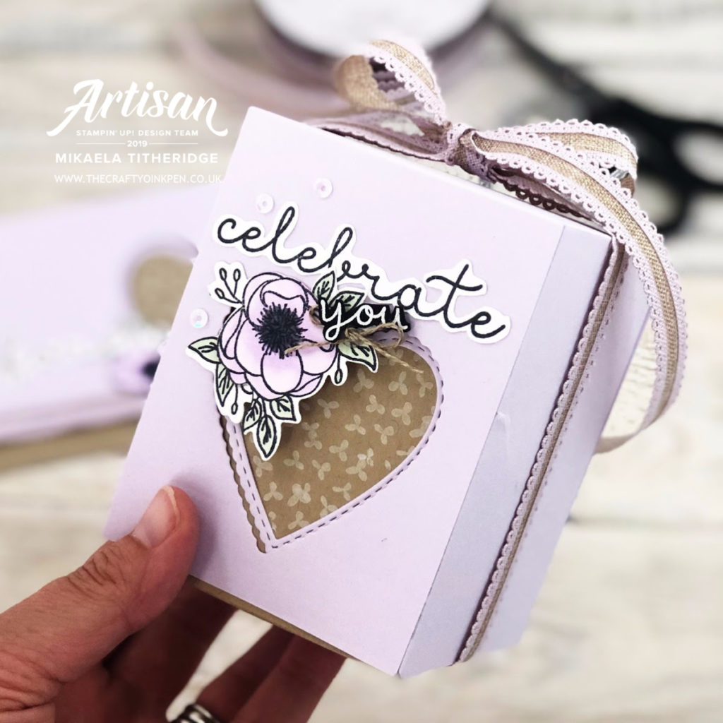 Stamping Sunday's All Tied Up Blog Hop. An Engagement Card using Bloom & Grow, along with Stitched Be Mine Dies by Artisan Design Team Member 2019, Mikaela Titheridge, UK Independent Stampin' Up! Demonstrator, The Crafty oINK Pen. Supplies available through my online store 24/7