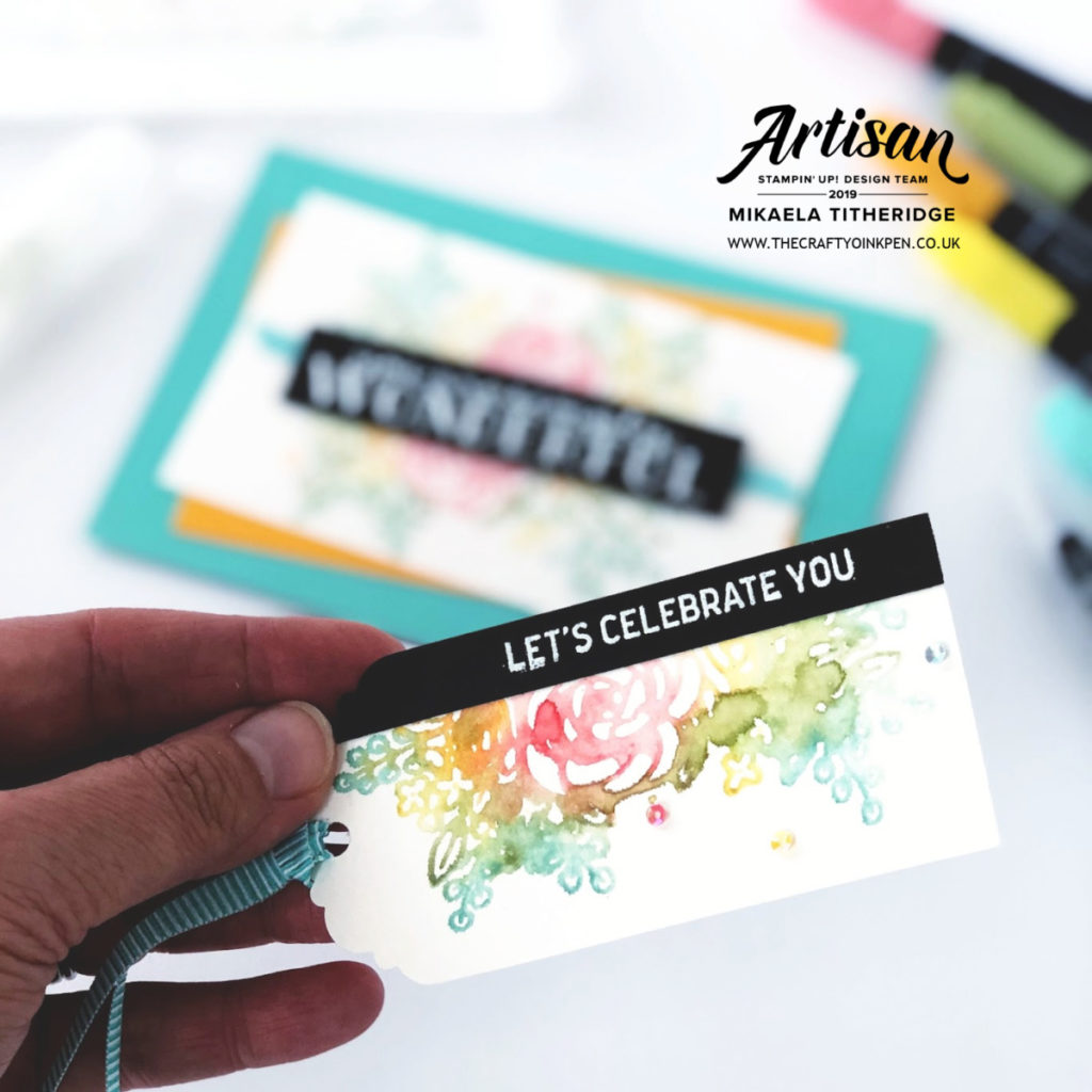 Stampin' Write Markers for Watercolour Stamping. Bloom and Grow Card and Gift Tag by Artisan Design Team Member 2019, Mikaela Titheridge, UK Independent Stampin' Up! Demonstrator, The Crafty oINK Pen. Supplies available through my online store 24/7