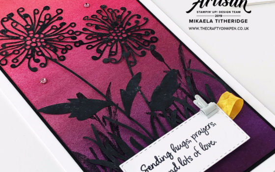 Shimmery Detailed Laser-cut Specialty Paper. Ombre cards using Inspiring Iris by Artisan Design Team Member 2019, Mikaela Titheridge, UK Independent Stampin' Up! Demonstrator, The Crafty oINK Pen. Supplies available through my online store 24/7