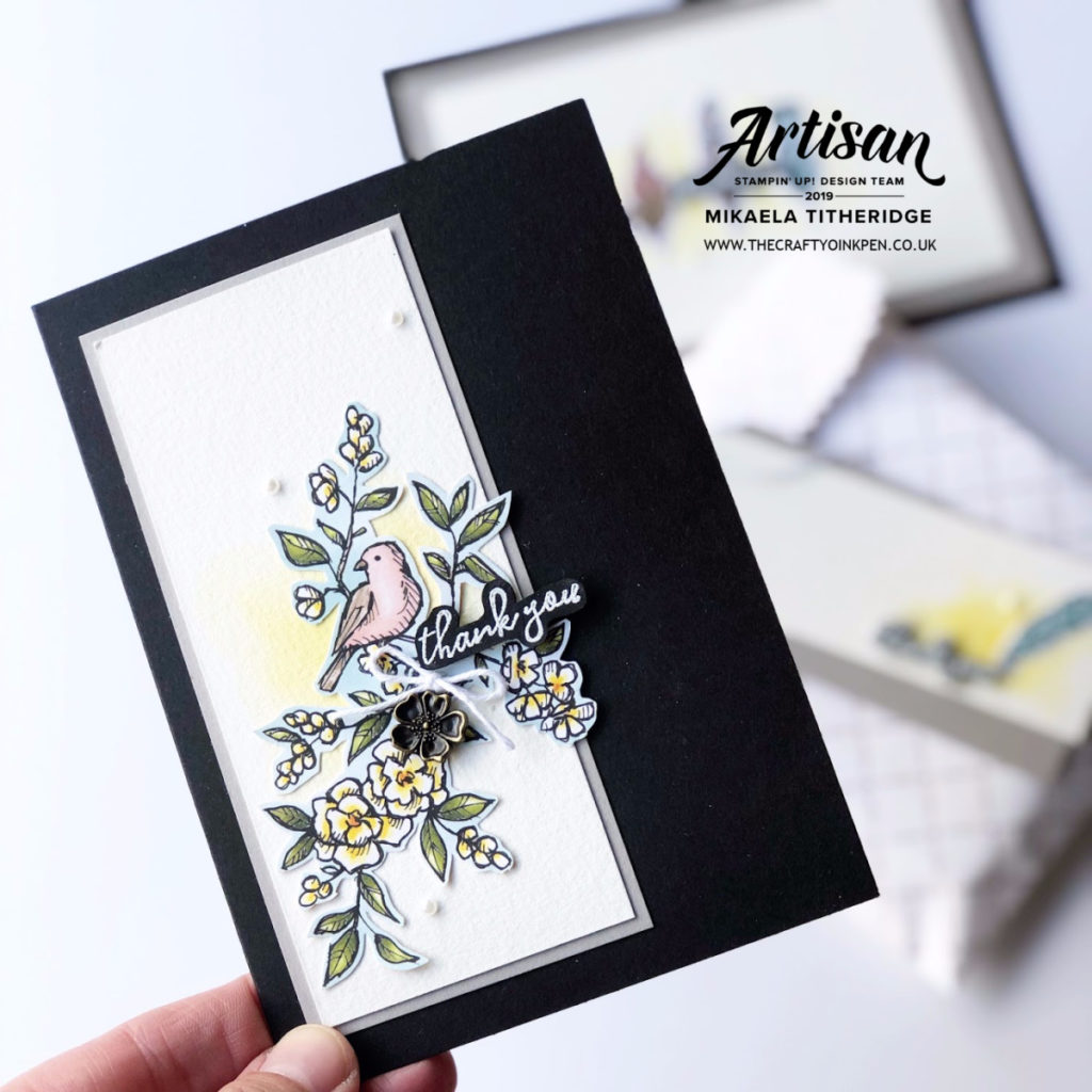 You Can Create it with Bird Ballad Designer Series Paper and Watercolour Paper by Artisan Design Team Member 2019, Mikaela Titheridge, UK Independent Stampin' Up! Demonstrator, The Crafty oINK Pen. Supplies available through my online store 24/7