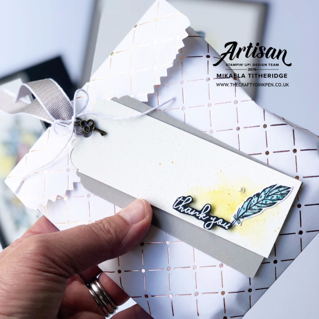 You Can Create it Gift Tag using Bird Ballad Designer Series Paper for some pretty Gift Packaging. You Can Create it by Artisan Design Team Member 2019, Mikaela Titheridge, UK Independent Stampin' Up! Demonstrator, The Crafty oINK Pen. Supplies available through my online store 24/7