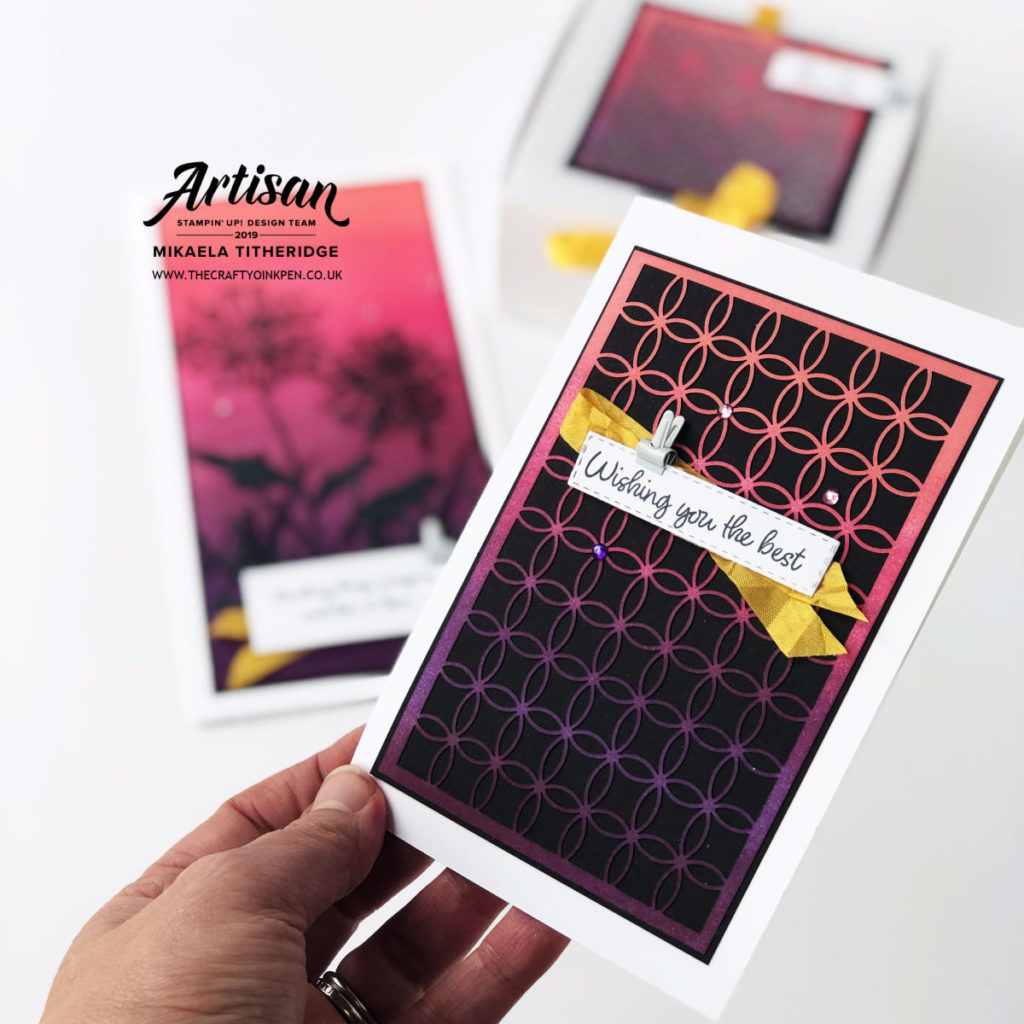 Shimmery Detailed Laser cut Specialty Paper. Ombre cards using Inspiring Iris by Artisan Design Team Member 2019, Mikaela Titheridge, UK Independent Stampin' Up! Demonstrator, The Crafty oINK Pen. Supplies available through my online store 24/7