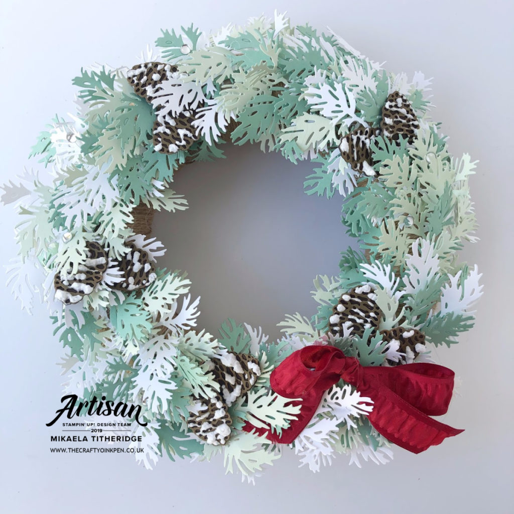 Beautiful Boughs Dies from the Peaceful Boughs Bundle in the Autumn/Winter Seasonal Holiday Catalogue. Frosted Wreath with Pinecones and Puff Snow by Artisan Design Team Member 2019, Mikaela Titheridge, UK Independent Stampin' Up! Demonstrator, The Crafty oINK Pen. Supplies available through my online store 24/7