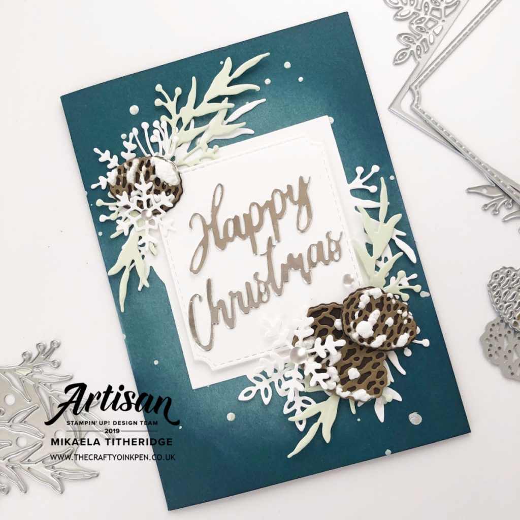 Frosted Frames Facebook Live Christmas Card combined with Beautiful Boughs and Word Wishes by Artisan Design Team Member 2019, Mikaela Titheridge, UK Independent Stampin' Up! Demonstrator, The Crafty oINK Pen. Supplies available through my online store 24/7