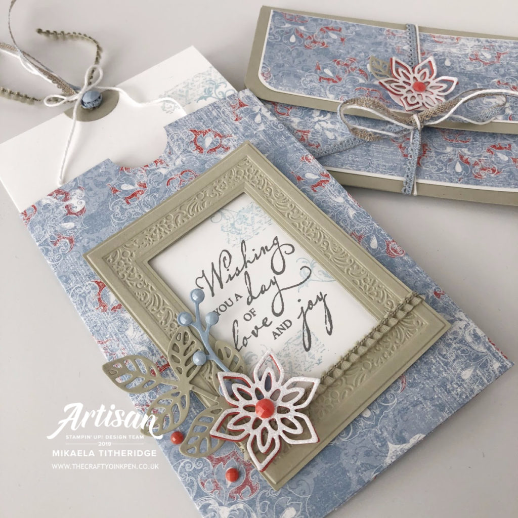 Artisan Design Team Blog Hop using Designer Series Paper and for me, Woven Threads with Woven Heirloom slider card and gift voucher / money wallet by Artisan Design Team Member 2019, Mikaela Titheridge, UK Independent Stampin' Up! Demonstrator, The Crafty oINK Pen. Supplies available through my online store 24/7